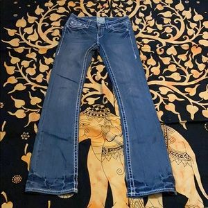 L.A.Idol Jeans White Wash Crystal  Buttons sz 3